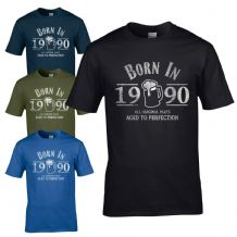 Born in 1990 T-Shirt - 30th Year Birthday Age Present Beer Funny Aged Mens Gift